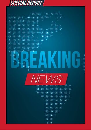 Illustration of Breaking News Banner on Bright Earth Glowing Globe Background. Ilustracja