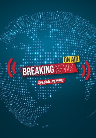Illustration of Breaking News Banner. Broadcast News Design Template on Glowing Planet Background