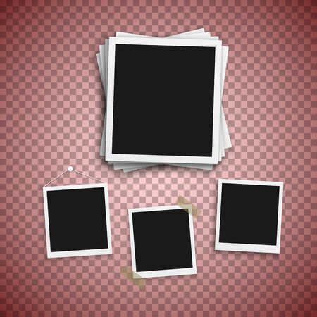 Illustration of Photo Frame. Realistic Snapshot Modern Photo. Instant Album Photoframe Paper Picture.