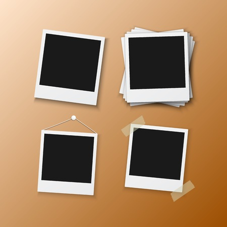 Illustration of Instant Photo Frame. Realistic Instant Snapshot. Modern Photography Element.