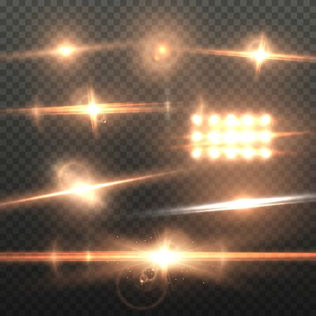 Illustration of Lens Flare Effect. Realistic Sun Flare Energy Beam Explosion on Transparent Background