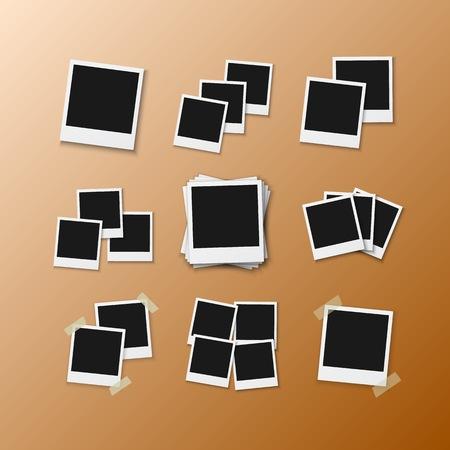 Realistische instant fotokader momentopname geïsoleerd op transparante achtergrond Vector Illustratie