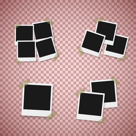 Realistic  Instant Photo Frame Snapshot Isolated on Transparent Background Ilustracja