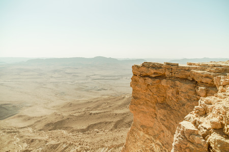 Israel negev desert, crater ramon. Landscape view on famous canyon. Nobody on photo.