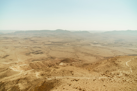 Israel landscape of negev desert. Mountains background, sand, life nature in middle east Archivio Fotografico