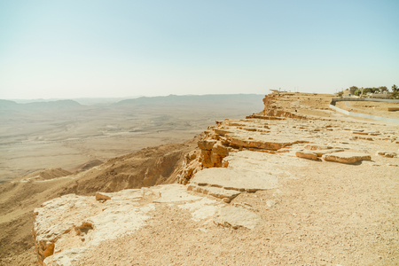 Scenic outdoor landscape of negev desert. Israel nature, crater mitzpe ramon. Unique canyon, volcanic relief