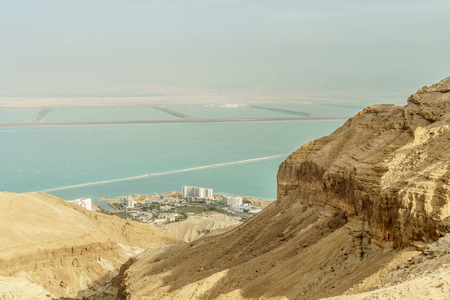 Landscape view on the dead sea from dry desert in Israel.