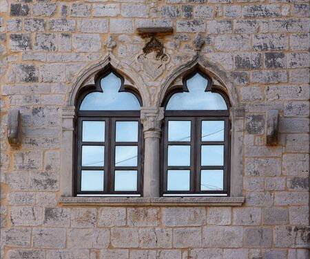 Old window on old Medieval castle photo