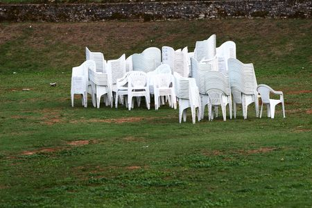 after the party: Chairs after party in the field