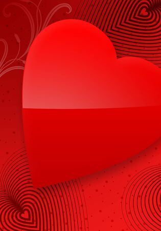Red Valentines Day Illustrated Heart over a red gradient background. photo