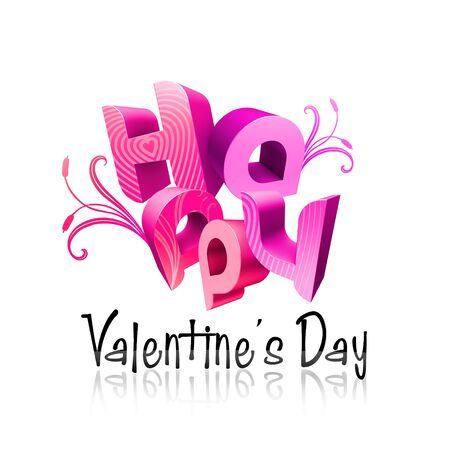 romantics: 3d typography Illustration of Happy Valentines Day over a white background.