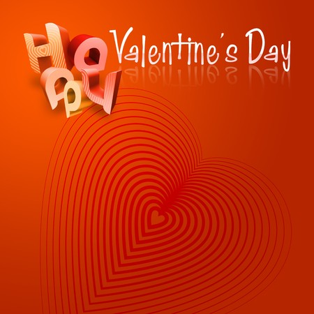 romantics: 3d typography Illustration of Happy Valentines Day over a red and orange gradient background.
