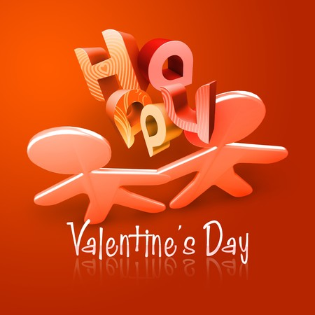 romantics: 3d couple Illustration of Happy Valentines Day over an orange and red  background.