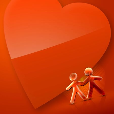 romantics: 3d couple and a heart Illustration of Happy Valentines Day over an orange and red background.