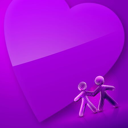 romantics: 3d couple and a heart Illustration of Happy Valentines Day over an pink and violet background.