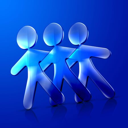 romantics: 3d illustration of three friends hugging and dancing over a blue background. Stock Photo
