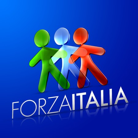 fanatics: 3d ilustrated men representing the italian flag with the frase forza italia on a modern font over an intense blue background.