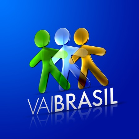 3d ilustrated men representing the brazilian flag with the frase vai brasil on a modern font over an intense blue background. photo