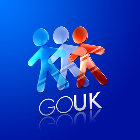 3d ilustrated men representing the UK flag with the phrase go UK on a modern font over an intense blue background. Stock Photo - 4194176