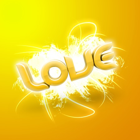 3D illustration of the word Love over a modern abstract background. Stock Illustration - 4194182