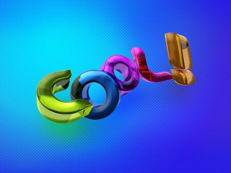 tenager: 3D illustration of the word Cool! over a modern abstract background. Stock Photo