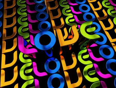tenager: 3D illustration of the word Love over a modern abstract background.