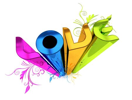 3D illustration of the word Love over a white background. illustration