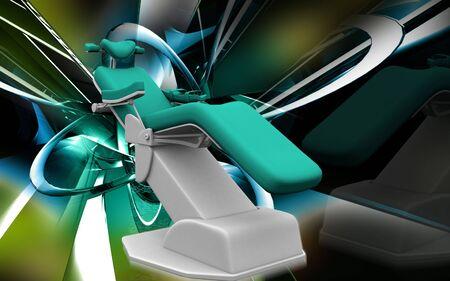 Digital illustration of dental chair in colour background  illustration