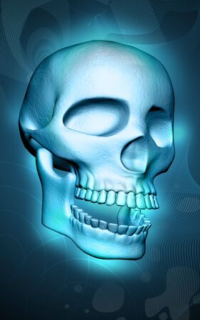 Digital illustration of skull in colour background  illustration