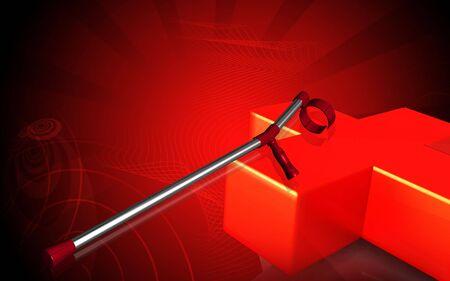 croix rouge: Illustration num�rique de b�quille et de la Croix rouge sur fond de couleur