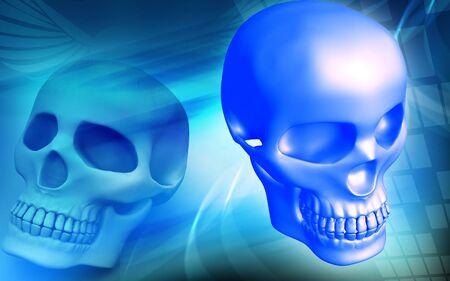 Digital illustration of skull in color background illustration