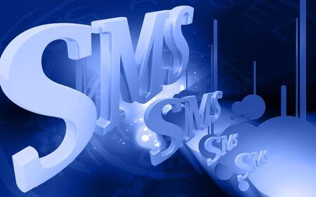 Digital illustration of  sms  in color background Stock Illustration - 6739969