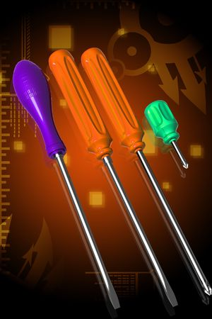 screw driver: Digital illustration of 3d screw driver in color background Stock Photo