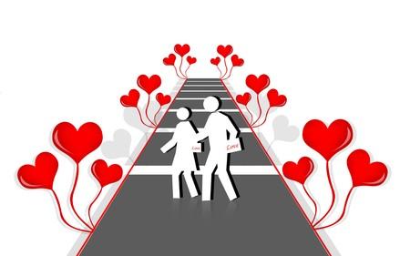 2d illustration of love couples in color background illustration