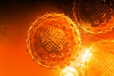 3d render of an hepatitis virus in digital background Stock Photo - 6893715