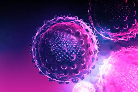 liver cells: 3d render of an hepatitis virus in digital background