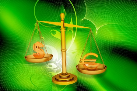 Digital illustration of balancing scale  euro and dollar in color background Stock Illustration - 6893732