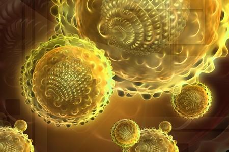 hepatitis virus: Digital illustration of hepatitis virus in color background  Stock Photo