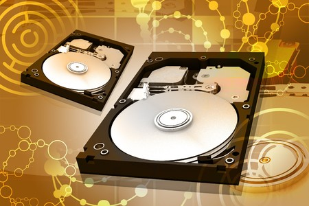 hard component: Digital illustration of hard disk in abstract background  Stock Photo