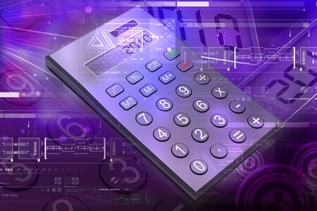 usage: Highly quality rendering of calculator in digital color background