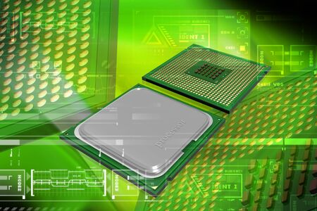 component parts: Highly quality of 3d processor in digital color background