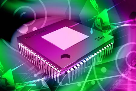 violate: Digital illustration of computer chip in isolated background  Stock Photo