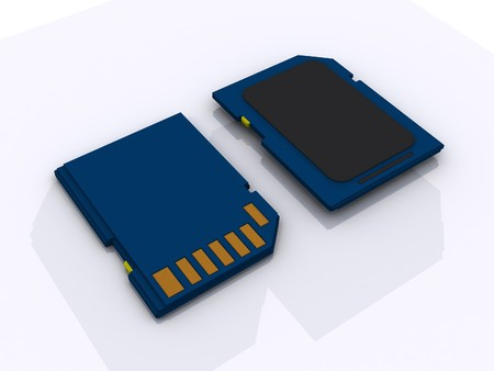 highspeed: 3d rendering of memory card in white background