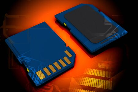 highspeed: 3d rendering of memory card in digital color background  Stock Photo