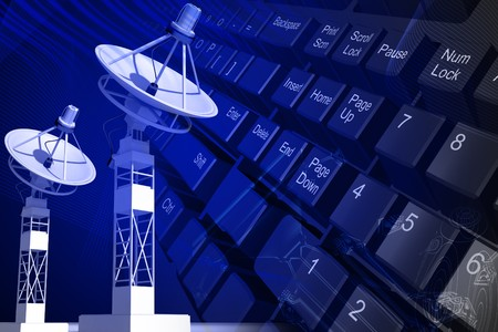 key board: Highly quality of satellite dish and key board in color background