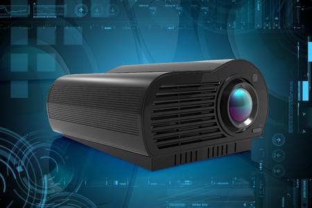 Digital illustration of Multimedia Projector in color background  illustration