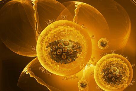 hiv: Digital illustration of HIV virus in color background