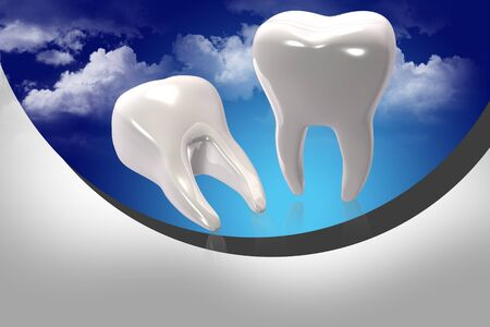 tooth paste: Digital illustration of teeth in color background