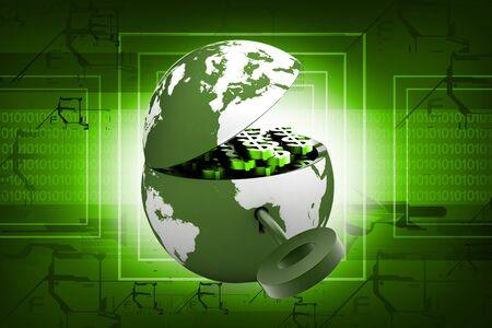 banco mundial: S�mbolo de una clave y un bloqueo con el mundo que se representa como un bloqueo  Foto de archivo