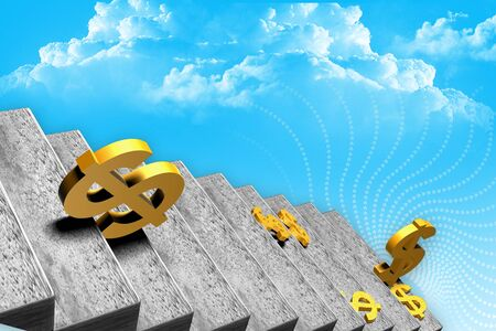 staircases: 3d illustration of  golden dollar  signs on staircases  Stock Photo